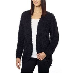 Kensie Open Front Black Eyelash Cardigan